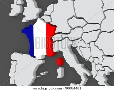 Map of worlds. France. 3d