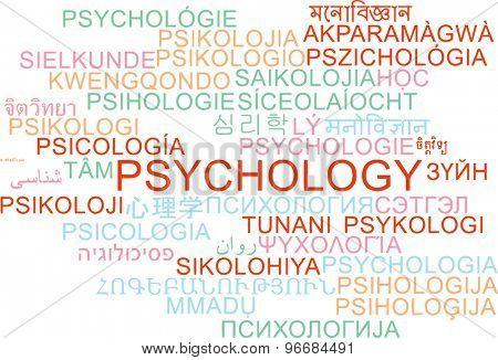 Background concept wordcloud multilanguage international many language illustration of psychology