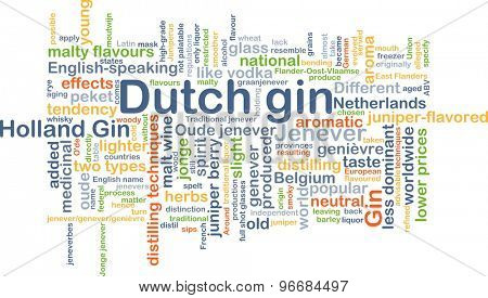Background concept wordcloud illustration of Dutch gin