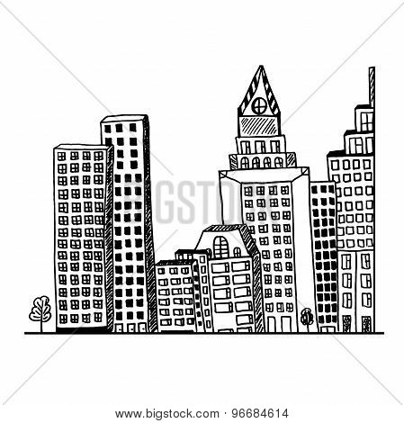Big, city, concept, architecture, hand drawn, sketch, vector, illustration