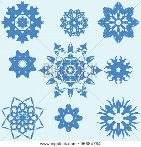 Collection Of Different Blue Snowflakes.
