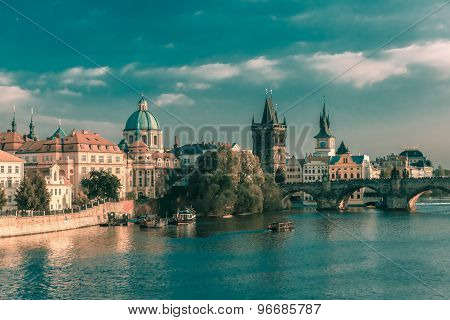 Charles Bridge in Prague, Czechia, at evening