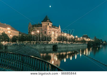 Night Smetanovo waterfront in Prague, Czechia