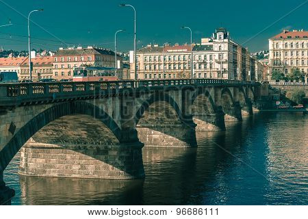 Palacky Bridge in Prague, Czech Republic