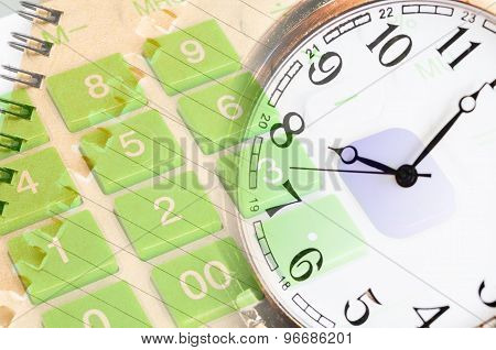 Pocket Watch And Close Up Calculator Whit Document.