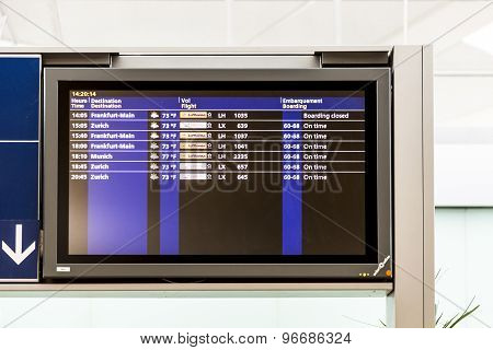 Board With The Schedule Of Departures Of Planes Indicates Latest Infos In Cdg