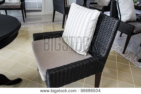 Room With Black Chair Decorated