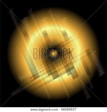Abstract technology round golden black background