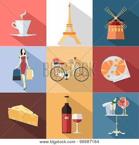 Set of France travel colorful flat icons, France symbols with long shadow for your design.