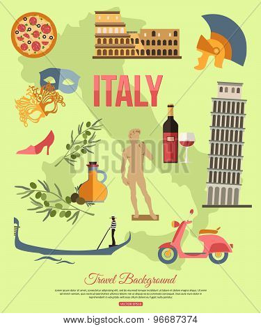 Italy travel background with place for text. Set of colorful flat icons, Italy symbols for your desi