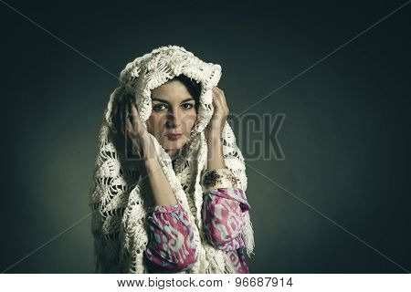 Studio portrait of young woman. Toned photo