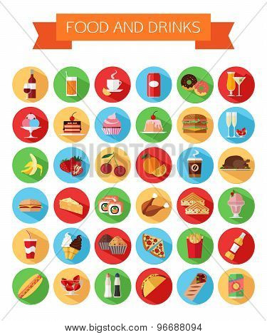 Set of colorful food and drinks icons. Flat style design isolated icons with long shadow.