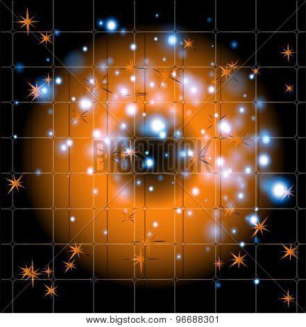 Black orange with star background