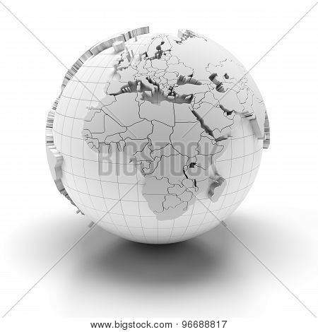 Globe with extruded continents, Europe, Middle East and Africa regions