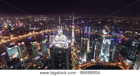 Skyscrapers in Shanghai at night