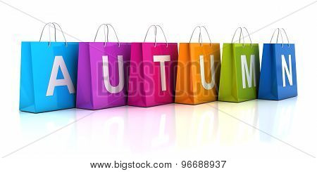 Autumn sale concept with shopping bag, 3d render