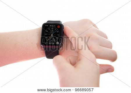Lady Wearing An Apple Watch With Chronograph Face