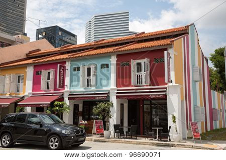 SINGAPORE - CIRCA FEBRUARY, 2015: On the streets Arab quarter (Kampong Glam). Arab Quarter is the oldest historic shopping district of Singapore, is popular for visiting tourists.