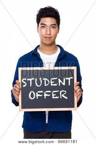 Indian man with chalkboard showing the phrases of student offer