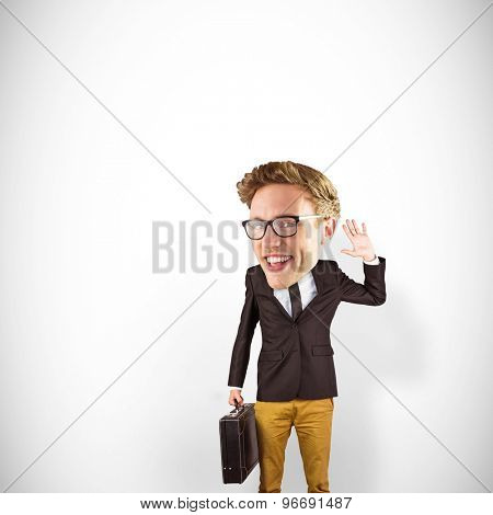 Nerd smiling and waving against white background with vignette