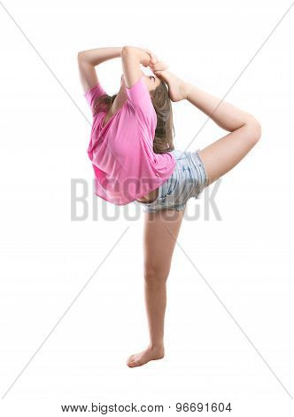 Agile Teenage Dancer Bringing Leg To Head