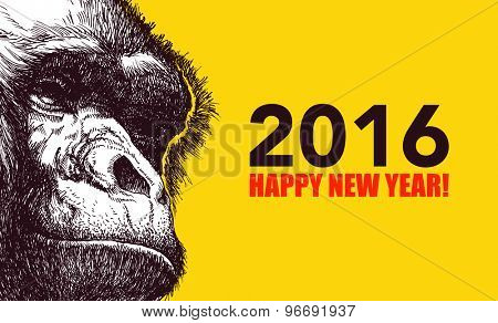 The year of monkey. Chinese new year 2016. Monkey year. Vector illustration.