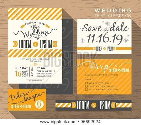 Modern Yellow Stripe Wedding Invitation Set Design Template