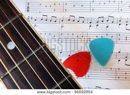 Guitar picks and music