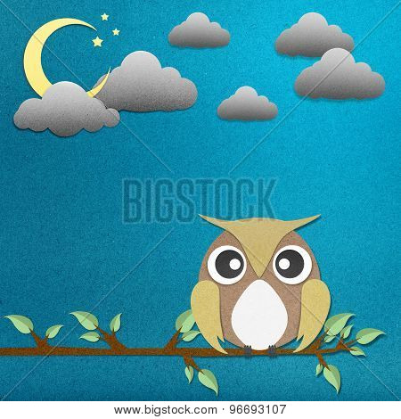 Owl Perched Paper Craft On Paper Background