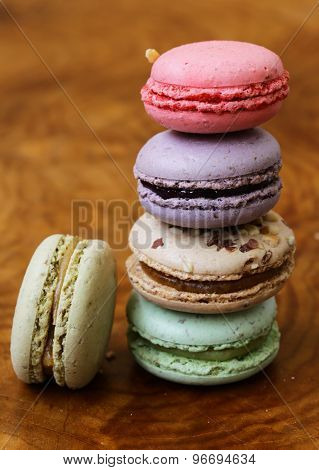 traditional French dessert almond colorful  biscuits macaroons