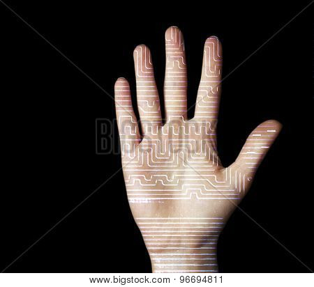 Human palm with microchip picture on it isolated on black
