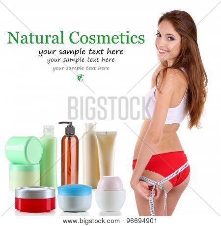 Beautiful young woman and natural body care cosmetics isolated on white
