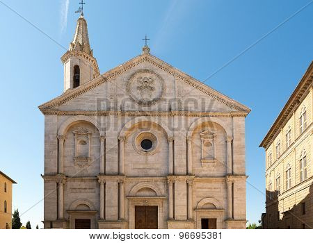 Pienza In Val D'orcia And Its Cathedral