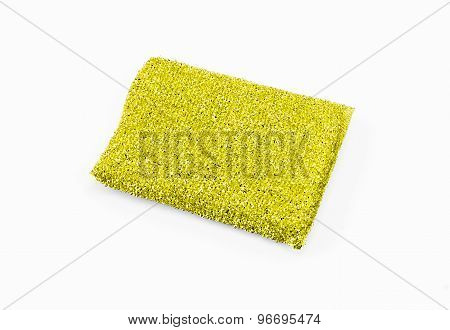 Yellow Sponge Over White Background.
