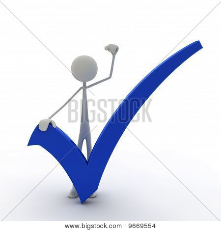 Figure with check mark and fist up