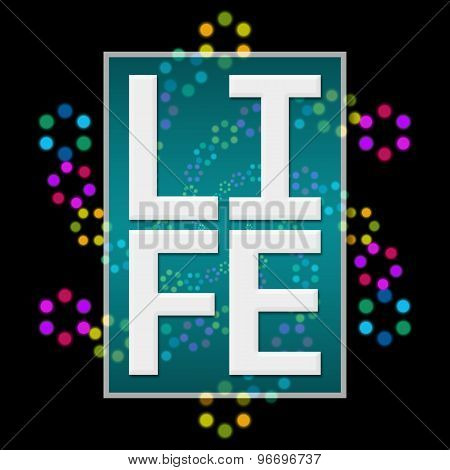 Life Text Dark Background Colorful Neon