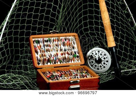 Fly Fishing Tackle On Black Background