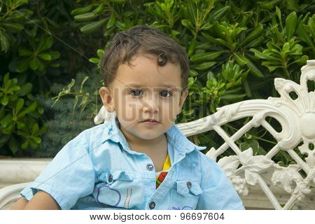 Boy 2 Years Sitting  On A Bench