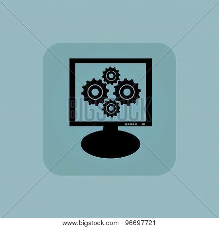 Pale blue cogs monitor icon