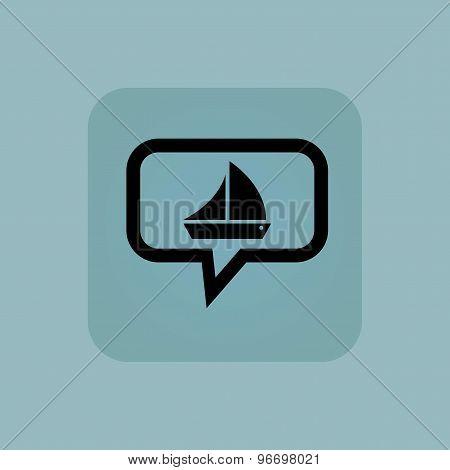 Pale blue sailing ship message