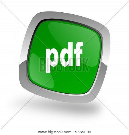 pdf icon green and silver button