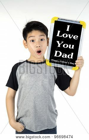 Asian Boy Is Little Smile With Blank White Board And Looking Camera