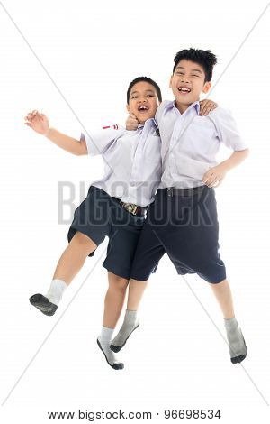 Asian Primary School Students Back From School, Shabbily