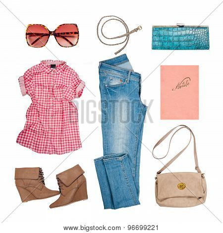 Outfits of clothes and woman accessories