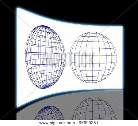 Wire Frame Of Two Spheres