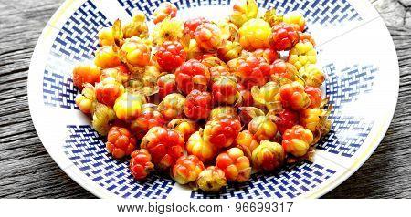 Fresh Cloudberries On Plate