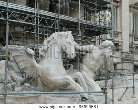 View of Fontana di Trevi in restoration