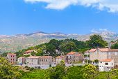 picture of stone house  - Rural landscape old stone houses and mountains - JPG