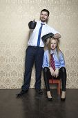 stock photo of disobedient  - man and woman working together in the office - JPG