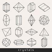 image of gem  - Set of geometric crystals gem and minerals - JPG